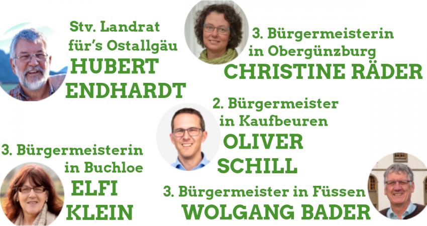 Hubert Endhardt (stv. Landrat im Ostallgäu), Christine Räder (3. Bürgermeisterin in Obergünzburg), Elfi Klein (3. Bürgermeisterin in Buchloe), Oliver Schill (2. Bürgermeister in Kaufbeuren) und Wolfgang Bader (3. Bürgermeister in Füssen)