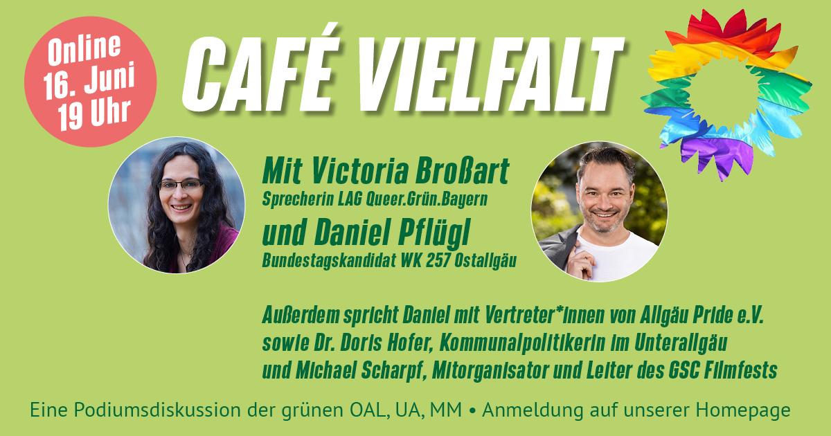 Victoria Broßart und Daniel Pflügl, buntes/regenbogenfarbenes Sonnenblumen-Logo der Grünen und Liste der Podiumsgäst*innen, die auch im Fließtext folgt