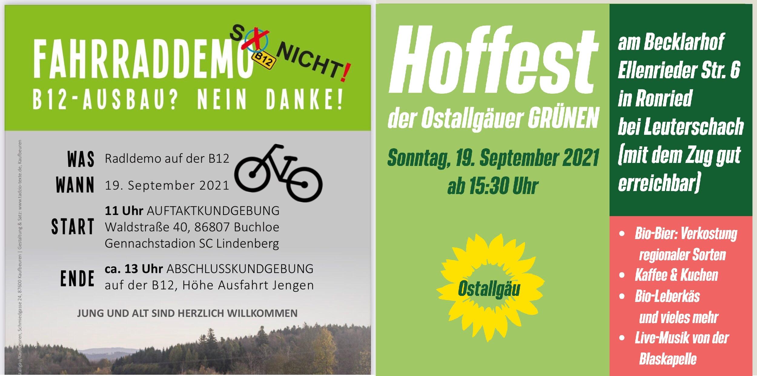 Sonntag: Radeln auf der B12 und Feiern am Becklarhof